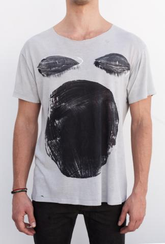 AMY GLENN T-shirt A FACE_GR Lt.GREY