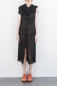 MA+ hooded front button long dress
