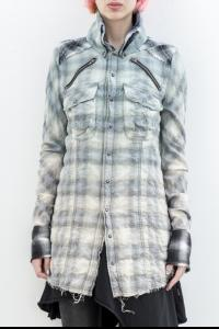 L.G.B. Checkered Print Raw Edge Biker Shirt
