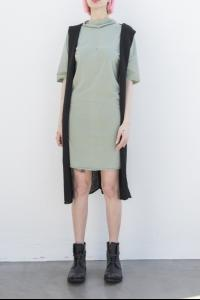MA+ knitted hooded sleeveless long cardigan