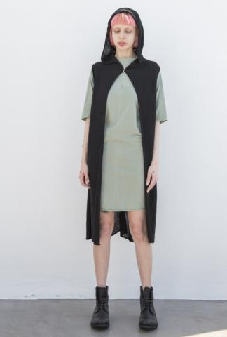 M.A+ NU220BL Knitted Large Hood Sleeveless Cardigan