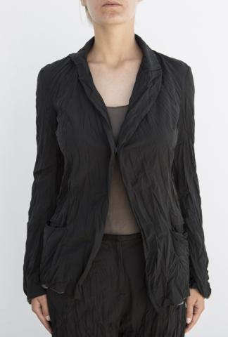 Alessandra Marchi Structured Wrinkle Single Button Blazer
