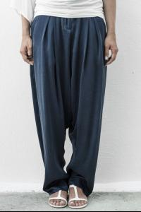 Isabel Benenato Woven silk trouser purple blue