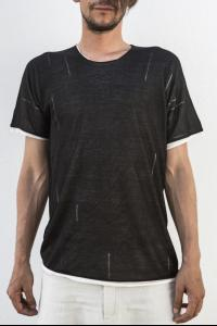 Label Under Construction Laddered Double Layered Silk Knit Short Sleeve T-shirt