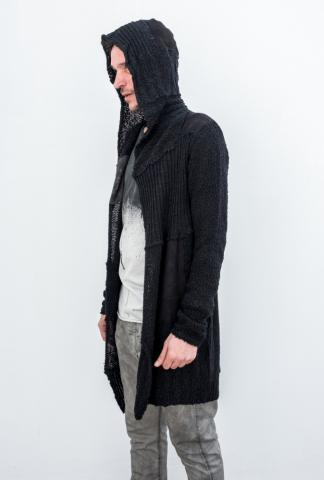 10Sei0otto Hoodie cardigan w/leather inserts