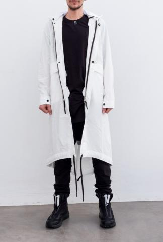 11 By BBS white long parka w.fist print on back