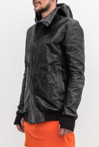 Boris Bidjan Saberi leather bomber with hood