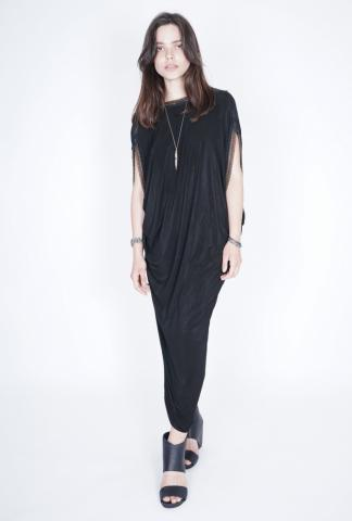 Alessandra Marchi reversible long dress w/chains
