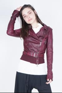 Giorgio Brato RIbbed Bottom Hem Belted Lamb Leather Perfecto Jacket