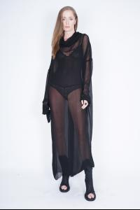 Ivan Grundahl Sheer Cowl Neck Long Dress