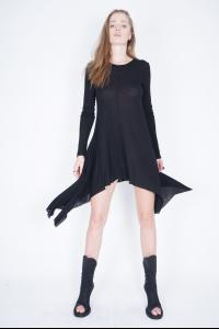 Ivan Grundahl Curved Hem Long Sleeve Short Dress