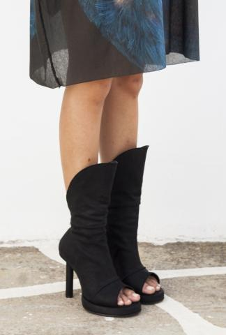 Goran Horal H19 Full Grain Scarred Antelope Leather Open Toe back Zip Heels