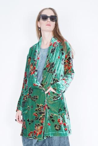 Uma Wang Kirby jacket green velvet elongated jacke