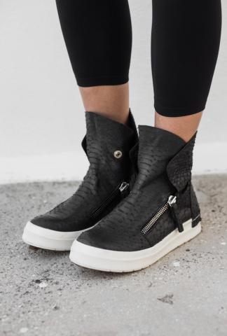 CA by Cinzia Araia Snake Embossed Leather Side Zipper Sneakers