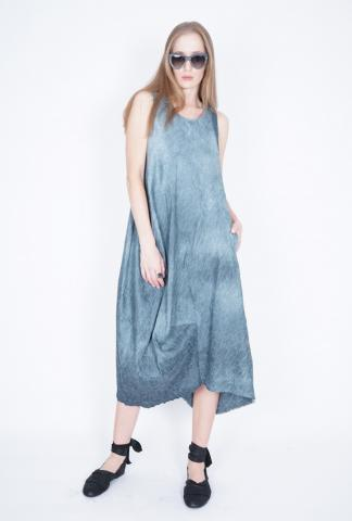 Uma Wang Afra dress puffy linen' dress with a drap