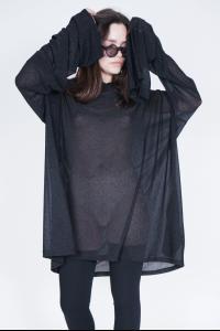 Barbara Bologna Oversized Shiny Jersey Hoodie