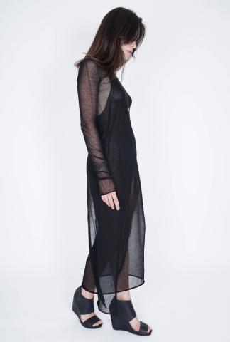 Isabel Benenato Asymmetrical 1-sleeve Sheer Long Top