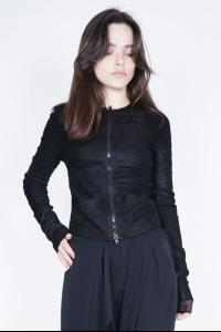 Isabel Benenato Fitted Blistered Stretch Lamb Leather Collarless Jacket