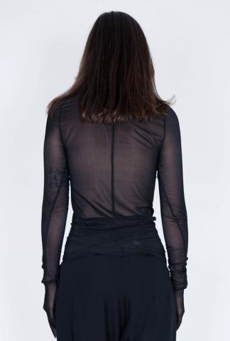 Isabel Benenato Stretch Silk Sheer Long Sleeve