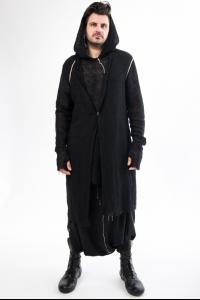 Nostrasantissima One Button Closure Long Hooded Cardigan