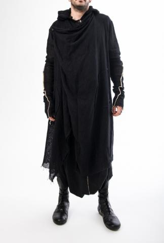 NostraSantissima  94UJJ31 knitted hooded cape w/contrast stitching