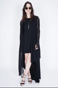 Nostrasantissima Raw Edge Knitted Long Cardigan