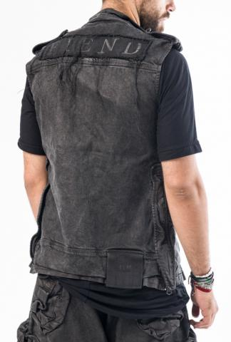 HAMCUS sleeveless cargo-pocket trench jkt