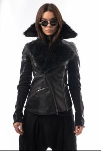 Alessandra Marchi Removable Fur Collar Leather Jacket