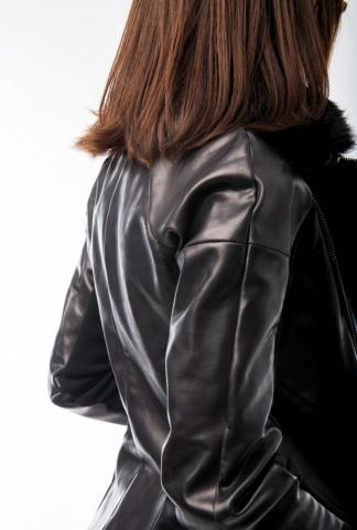 Alexandra Marchi zipped leather jacket with remova