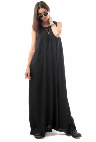 UN-NAMABLE Long Essential Black Plisse Dress