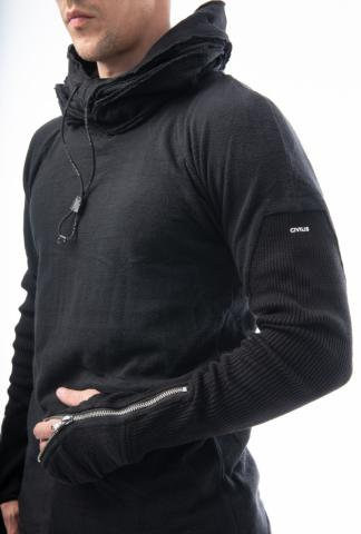 HAMCUS ribbed zipped glove sleeve knitted hoody