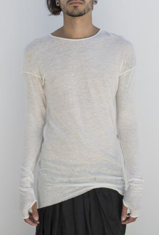 Isabel Benenato Long sleeve tee knit white