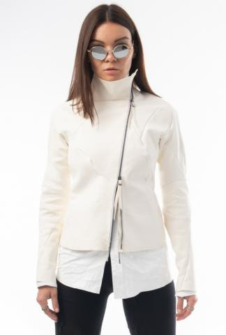 Leon Emanuel Blanck distortion White leather jacket, with detachable lining