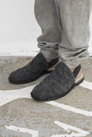 Barny Nakhle Wrinkled Linen Slip-ons
