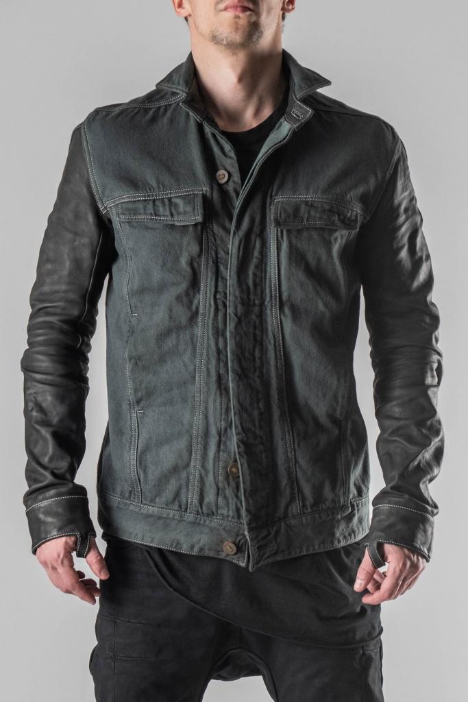 baf359148 Boris Bidjan Saberi TEJANA1 Leather Sleeves Denim Jacket